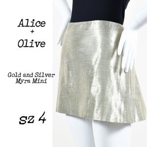 ALICE + OLIVIA Myra Metallic Mini Skirt